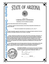 arizona Good Standing Certificate