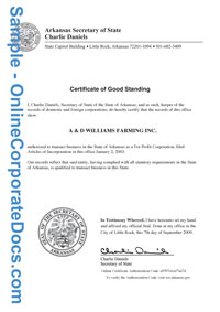 arkansas Good Standing Certificate