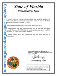 Florida Good Standing Certificate