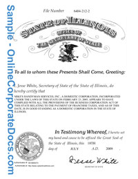 illinois Good Standing Certificate