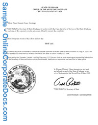 indiana Good Standing Certificate