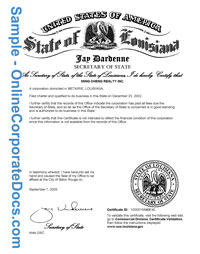 louisiana Good Standing Certificate