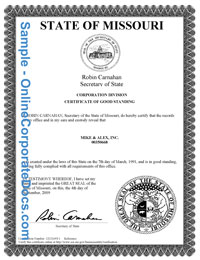 Missouri Good Standing Certificate | Online Corporate Docs ...