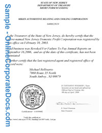New Jersey Good Standing Certificate