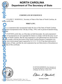 north carolina Good Standing Certificate